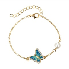 3 Color Crystal Butterfly and Flower Charm Bracelet Romantic Butterfly Design Golden Plated Wedding Bracelet Girl's Accessory Blue