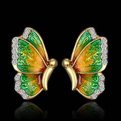 Fashion Colorful Butterfly Painting Oil Pendant Earrings Green