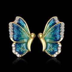 Fashion Colorful Butterfly Painting Oil Pendant Earrings Blue