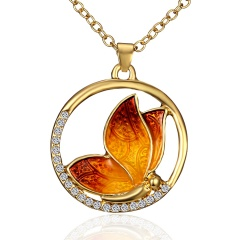 Women Crystal Rhinestone Pearl Butterfly Pendant Necklace Charm Jewelry Gift Necklace-Yellow