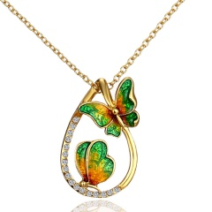Hot Women Lady Crystal Rhinestone Pearl Butterfly Pendant Necklace Charm Jewelry Green