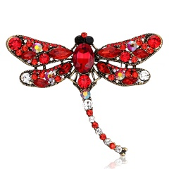 Vintage Crystal Dragonfly Necklace For Women Collar Pins Dragonfly Pendant Jewelry accessories enamel epacket drop shipping Red Dragonfly