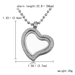 Mixed Living Memory Floating Charms Glass Round Heart Locket Pendant Necklace Crystal Heart Silver