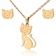 Fashion Jewelry Set Stainless Steel Womens Gold Pendant Necklace Earrings Gifts Hollow cat