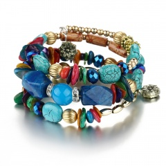 Multilayer Natural Stone Crystal Tassel Bangle Beaded Bracelet Jewelry Charm Hot Blue