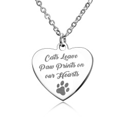 Fashion Love Smooth Stainless Steel Lettering Necklace Necklace Paw