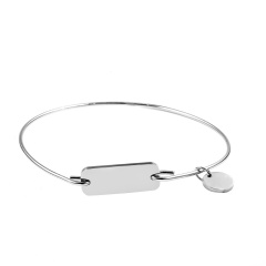 Stainless Steel Tag Engraved Bracelet Customized Bangle Women Gift Silver