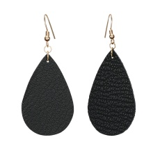 1 Pair Drop Shape Artificial Leather Earrings Black
