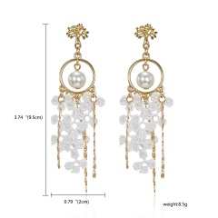 Women Jewelry Geometry Pentagram Crystal Pearl Lace Tassel Earrings Pearl