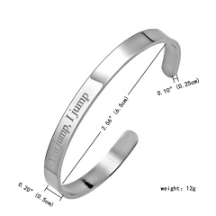 Never Give Up Stainless Steel Lettering Bracelet Bangle Gift Silver-You jump