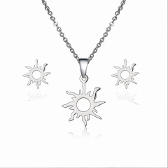 Lovely Heart Sun Stainless Steel Stud Earrings Necklace Set Charm Jewelry Gift Silver sun