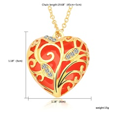 Glowing In The Dark Crystal Heart  Leave Hollow Luminous Necklace Pendant Orange 1