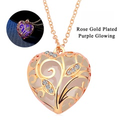 Glowing In The Dark Crystal Heart  Leave Hollow Luminous Necklace Pendant Purple