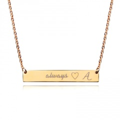 Fashion Engraved Letter Pendant Necklace Jewelry -A