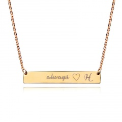 Personalized Name Bar Necklace Custom Engraved Any Name Necklace Stainless Steel H