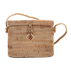 Hand-Woven Rattan Bag Straw Purse Handmade Tote Cross-body Beach Woven bag