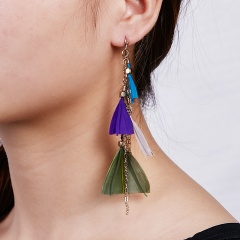 Feather Geometry Tassel Earrings for Women Style-1