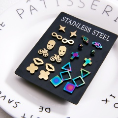 12 Pairs Earrings Set Gold Gold