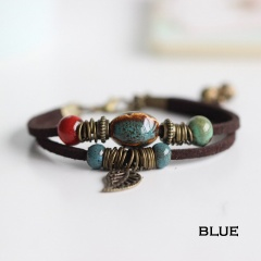 Rinhoo Bohemia Jewelry Men Bracelets Vintage Beaded Ceramic Leather Bracelet & Bangles for Women Colorful Bead Leaf Pendant Bell Bracelet 1