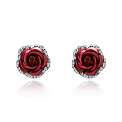 1 Pair Full Diamond Crystal Rose Flower Ear Earrings Red