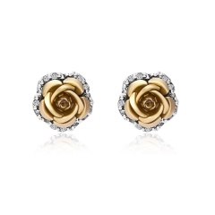 1 Pair Full Diamond Crystal Rose Flower Ear Earrings Gold
