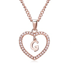 G-K Letter Fashion Crystal Heart Necklace Pendant Sweater Women Chain Jewelry G