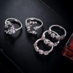 5pcs/set Elegant Retro Star Moon Crystal Rings Wedding Women Lady Love Gifts 5pcs-Crystal star