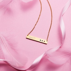 Rectangle Pendant With Diamonds Lettering Necklace Rose Gold