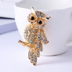Fashion Shiny Crystal Rhinestone Animal Brooches for Women Gold Silver Color Owl Swallow Brooch Pins Factory Direct Wholesale Owl
