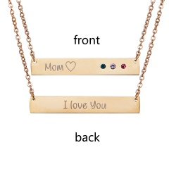 Lettering Horizontal Bar Letter Necklace Personalized Engraved Gold