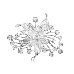 Factory Direct Sale Crystal Imitation Pearl Fashion Flower Leaf Plant Brooch Pins for Women in Assorted Designs Flower 2