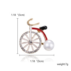 High Quality Cute Fashiopn Red Blue Little Girl with Umbrella Brooch Pins Crystal Rhinestone Enamel Bicycle Car Cartoon Brooches for Women Girls Gift Bicycle