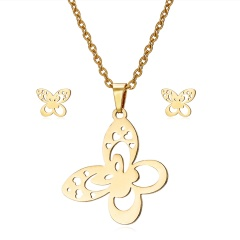 Jewelry Set Stainless Steel Womens Gold/Silver Pendant Necklace Earrings Gifts Heart butterfly