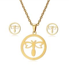 Jewelry Set Stainless Steel Womens Gold/Silver Pendant Necklace Earrings Gifts Hollow dragonfly