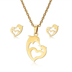 Jewelry Set Stainless Steel Womens Gold/Silver Pendant Necklace Earrings Gifts Heart dolphin