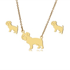 Jewelry Set Stainless Steel Womens Gold/Silver Pendant Necklace Earrings Gifts Dog