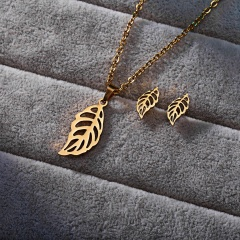 Fashion Stainless Steel Women Leaf Hollow Out Necklace Earrings Stud Jewelry Set Leaf