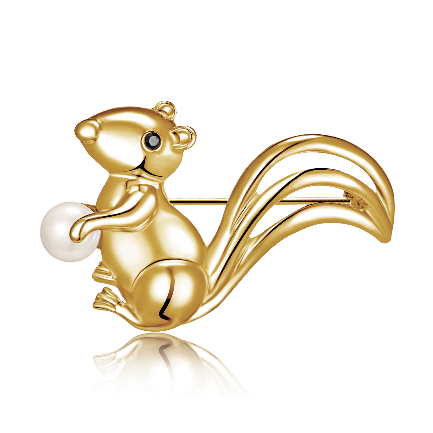 Women/'s Simulated Pearl Crystal Lovely Red Little Squirrel Animal Brooch Pin