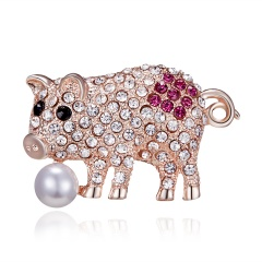 Gold Crystal Imitation Pearl Pig Rabbit Cat Brooch for Women Jewelry Rhinestone Animal Brooches Pin Collar Corsage Pet Badges Gift Pig 1
