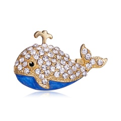 Gold Color Whale Brooches for Women Girls Fashion Sea Animal Pins Fashion Kids Jewelry Enamel Pins High Quality New 2019 Whale