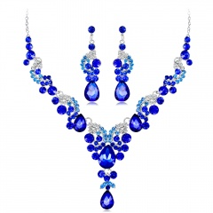 Vogue Prom Wedding Bridal Party Jewelry Set Crystal Rhinestone Necklace Earrings Blue