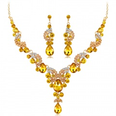 Vogue Prom Wedding Bridal Party Jewelry Set Crystal Rhinestone Necklace Earrings Yellow