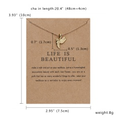 Lovely Cat Hummingbird Paper Card Necklace Women Men Jewelry Charm Gift Party Bird