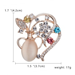 Elegant Crystal Rhinestones Cat Peacock Bow Aquarius and Floral Opal Brooch Pins in assorted for Women Girls Party Gift #1