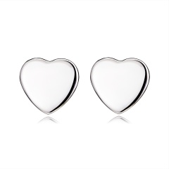 Fashion Simple Heart Round Pierced Earrings Heart