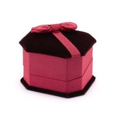 Octagonal Bowknot Jewelry Packaging Ring Box Claret