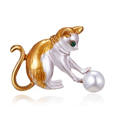 Rinhoo Crystal Alloy Monkey Dog Cat Frog Brooch For Women Party Brooches Pin For Collar Suit Scarf Decoration New Fashion Animal Jewelry Yellow Cat