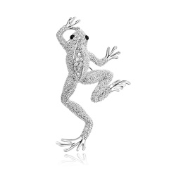 Rinhoo Crystal Alloy Monkey Dog Cat Frog Brooch For Women Party Brooches Pin For Collar Suit Scarf Decoration New Fashion Animal Jewelry Silver Frog