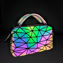 Geometric Ringer Luminous Hand Dazzle Color Makeup Bag Storage Bag26*15*13.5cm colours