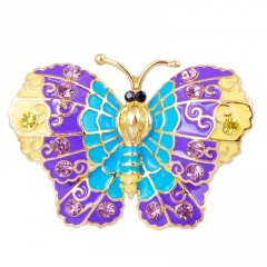 Rinhoo Fashion Colorful Rhinestone Crystal Brooch Pins Animal Butterfly Enamel Broches For Women Girls Suit Party Clothes Gift Jewelry Blue